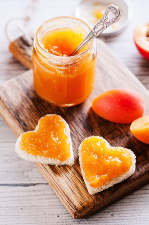 Fresh apricot jam in glass - Sweet breakfast 04