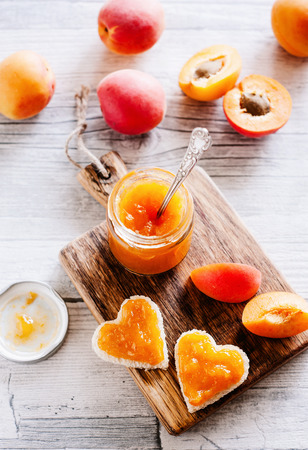 Fresh apricot jam in glass - sweet breakfast 03