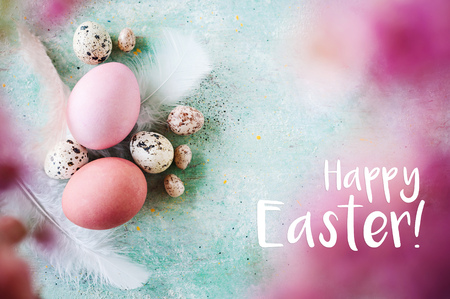 Happy Easter greeting card in pink and blue