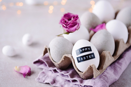 Romantic easter greetings - easter eggs with label - happy easter