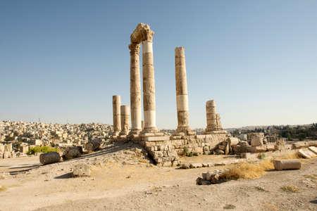 Romans ruins - Ancient Roman Amman citadel, Jordan Editorial