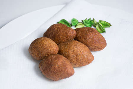 meet in dough fried, Kebeh, Arabian food
