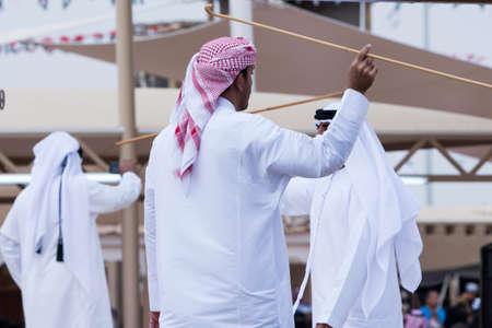 Emirates men perform a Yawalah traditional dance in Janadriyah Festival Essay February 23, 2018 in Riyadh, Saudi Arabia