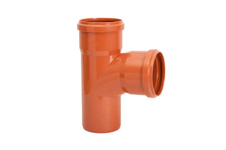 Orange PVC pipes Fittings, Isolated white PVC fittings on white background, Plumber tube for water isolated on a white background, plastic fittings for water pipeline Stock Photo - 104088277