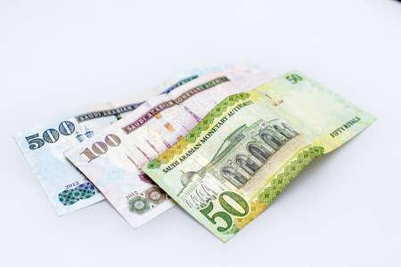 Saudi Arabia money, banknotes detailed background photo texture