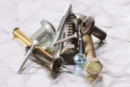 Close up to different types of screws Stock Photo