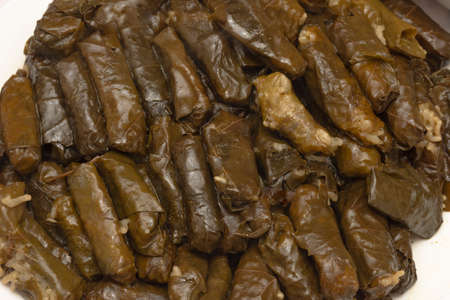 Close up to grape leaves stuffed with rice. home cooking