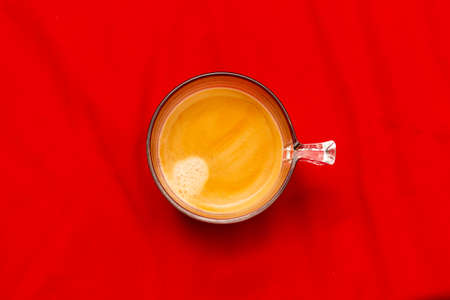 Espresso cup coffee on red background Stock Photo