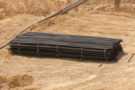 close up to iron material in the site for construction works