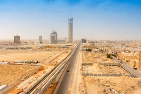 Riyadh, Saudi Arabia, KSA - February 10, 2020 north of Riyadh city view with a new buildings and metro railway station being constructed
