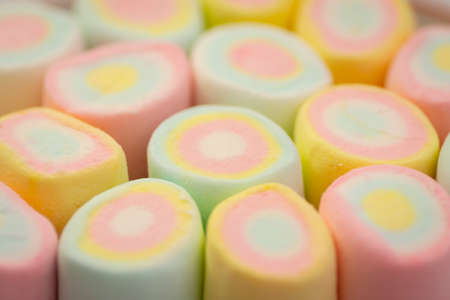 marshmallow pattern background, pastel color dessert, sweet food Stock Photo