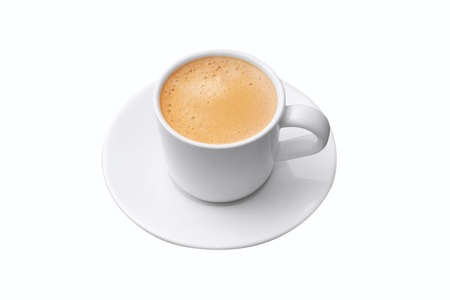 Closeup to white cup of espresso coffee on isolated on white background