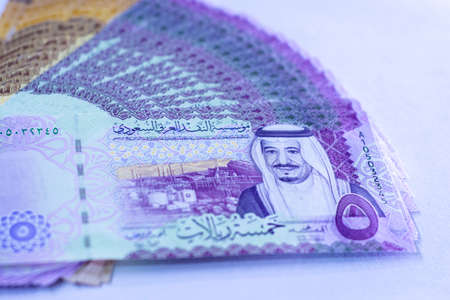 Saudi Arabia money, banknotes detailed background photo texture