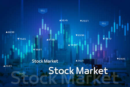 Stock market digital graph chart on LED display concept. A large display of daily stock market price and quotation. Indicator financial with buildings background