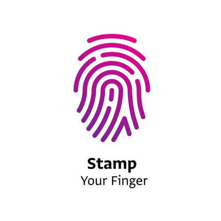 Stamp your Finger written black color with amazing purple gradient icon Ilustração