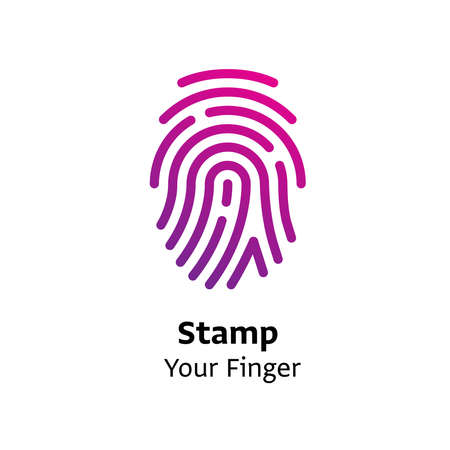 Stamp your Finger written black color with amazing purple gradient icon Illustration