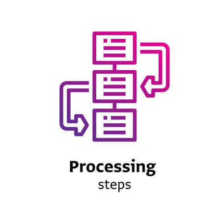 Processing Steps written black color with amazing purple gradient icon