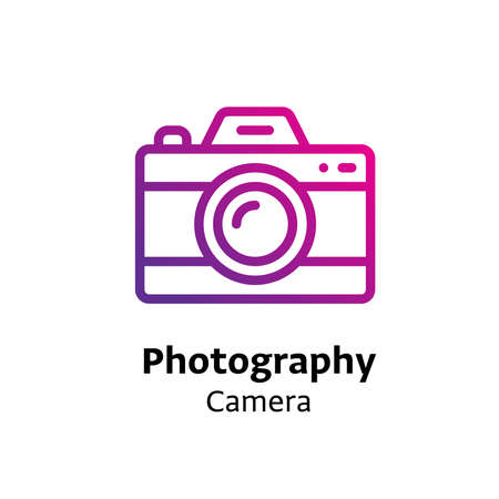 Photography camera written black color with amazing purple gradient icon