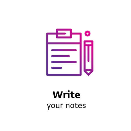Write your Notes written black color with amazing purple gradient icon Notepad and pen