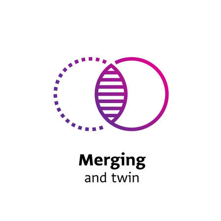 merging and twin written black color with amazing purple gradient icon