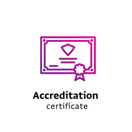 Accreditation Certificate written black color with amazing purple gradient certificate icon