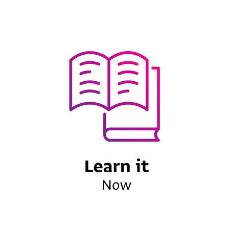 Learn it Now written black color with amazing purple gradient book icon