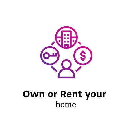 Own or Rent your Home written black color with amazing purple gradient icon