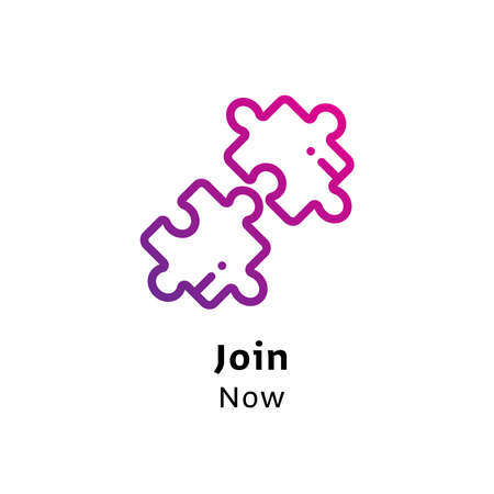 Join Now written black color with amazing purple gradient puzzle icon
