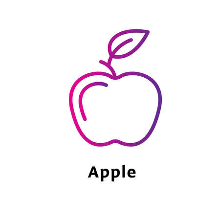 Apple written black color with amazing purple gradient icon Illustration