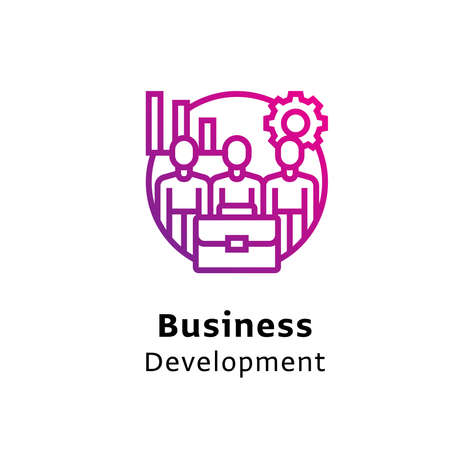 Business Development Together written black color with amazing purple gradient icon