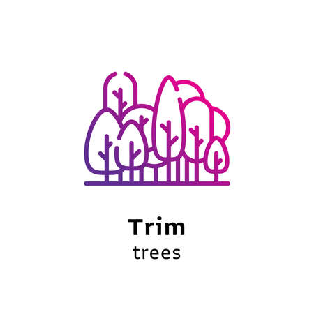Trim Trees written black color with amazing purple gradient icon