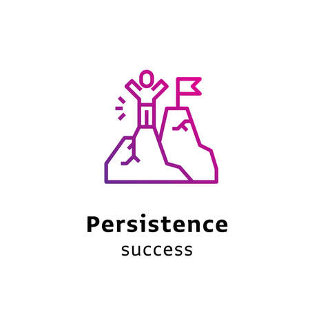 Persistence Success written black color with amazing purple gradient icon