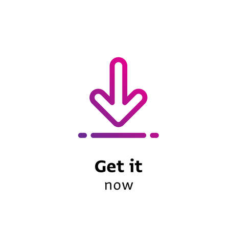 Get it Now written black color with amazing purple gradient icon arrow