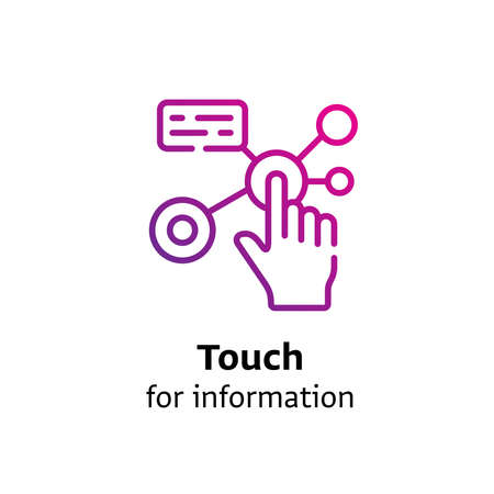 Touch for Information written black color with amazing purple gradient icon Illustration