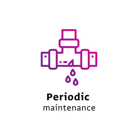 Periodic Maintenance written black color with amazing purple gradient icon