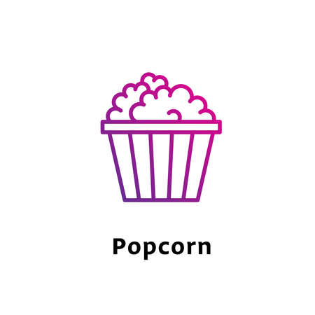 Popcorn written black color with amazing purple gradient icon Illustration