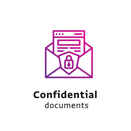 Confidential Documents written black color with amazing purple gradient icon Illustration