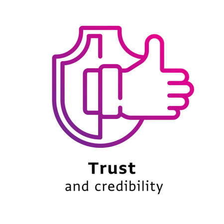 Trust and Credibility written black color with amazing purple gradient icon