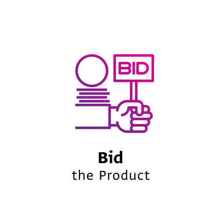 Bid the product written black color with amazing purple gradient icon hand hold bid sign