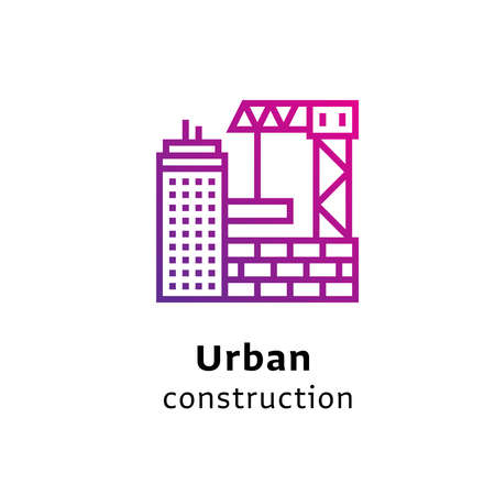 Urban Construction written black color with amazing purple gradient icon