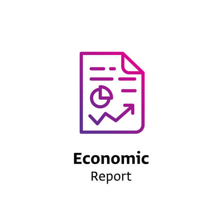 Economic Report written black color with amazing purple gradient icon Illustration