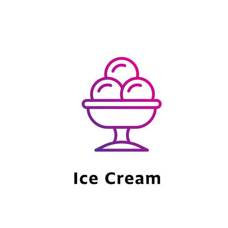 Ice Cream written black color with amazing purple gradient icon Illustration