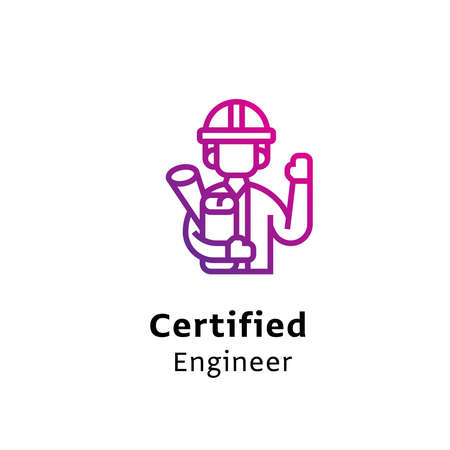 Certified Engineer written black color with amazing purple gradient icon