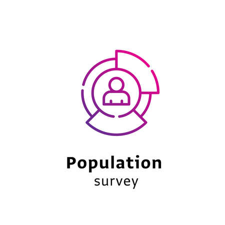 Population Survey written black color with amazing purple gradient icon Illustration