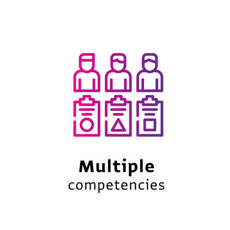 Multiple Competencies written black color with amazing purple gradient icon