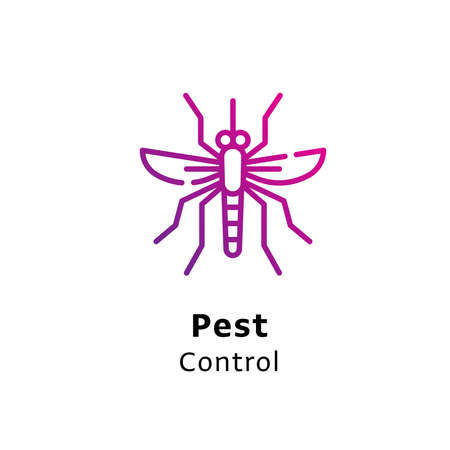 Pest Control written black color with amazing purple gradient pest icon