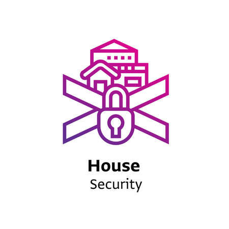 house Security written black color with amazing purple gradient icon