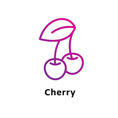 Cherry written black color with amazing purple gradient icon Illustration