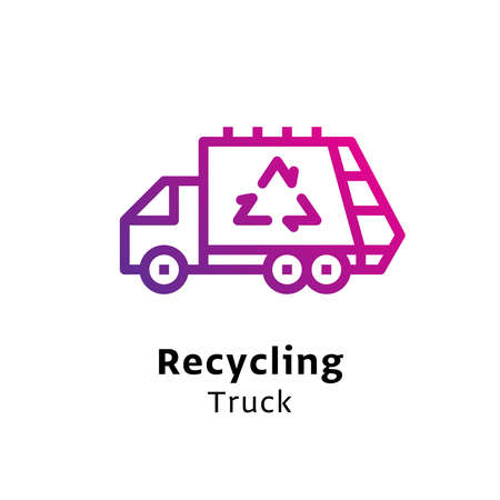 Recycling Truck written black color with amazing purple gradient icon