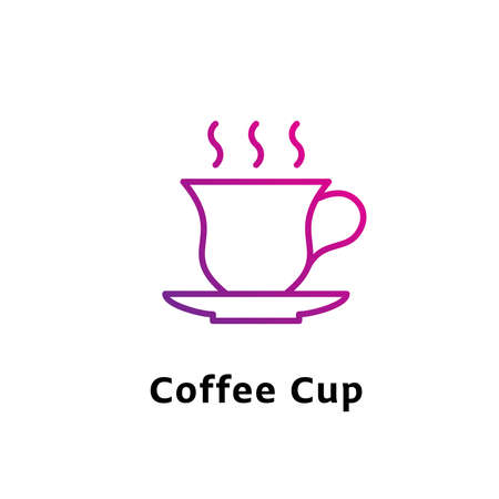 Coffee Cup written black color with amazing purple gradient icon Illustration